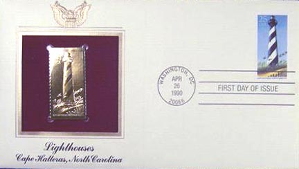 #2471 25¢ Lighthouses: Cape Hatteras - Gold-Foil First Day Cover