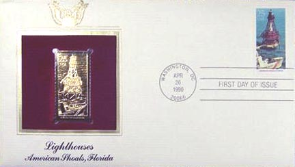 #2473 25¢ Lighthouses: American Shoals - Gold-Foil First Day Cover