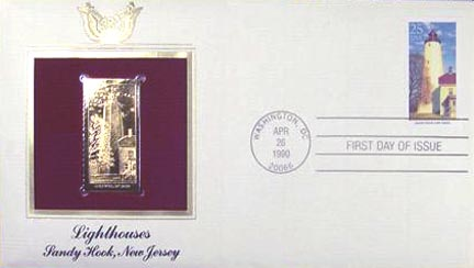 #2474 25¢ Lighthouses: Sandy Hook - Gold-Foil First Day Cover