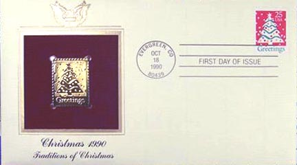 #2515 25¢ Christmas 1990: Secular - Gold-Foil First Day Cover