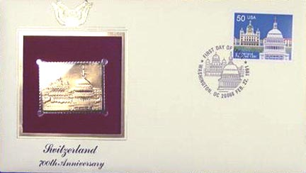 #2532 50¢ Switzerland Joint Issue - Gold-Foil First Day Cover