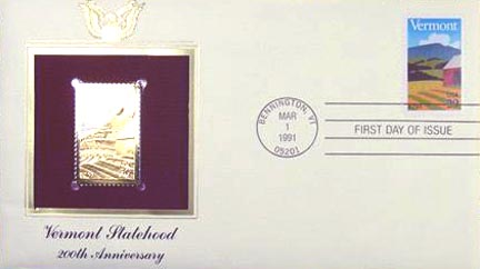 #2533 29¢ Vermont Statehood Bicentennial - Gold-Foil First Day Cover