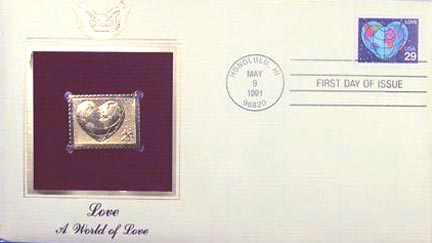 #2535 29¢ Love - Gold-Foil First Day Cover
