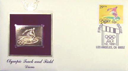 #2554 29¢ 1992 Olympics: Discus - Gold-Foil First Day Cover