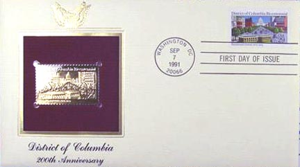 #2561 29¢ District of Columbia Bicentennial - Gold-Foil First Day Cover