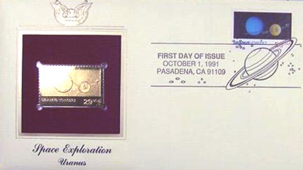 #2575 29¢ Space Exploration: Uranus - Gold-Foil First Day Cover