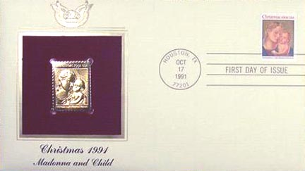 #2578 29¢ Traditional Christmas 1991 - Gold-Foil First Day Cover