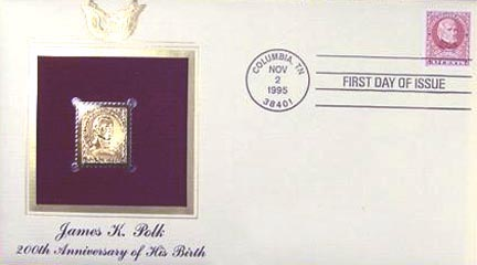 #2587 32¢ James Polk - Gold-Foil First Day Cover