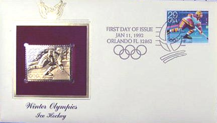 #2611 29¢ 1992 Winter Olympics: Hockey - Gold-Foil First Day Cover