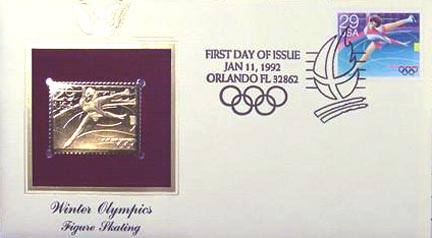 #2612 29¢ 1992 Winter Olympics: Skating - Gold-Foil First Day Cover