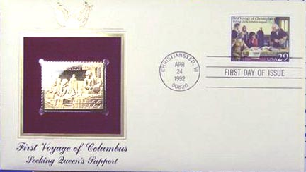 #2620 29¢ First Voyage of Columbus - Gold-Foil First Day Cover