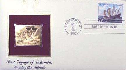 #2621 29¢ First Voyage of Columbus - Gold-Foil First Day Cover