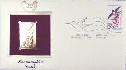 #2644 29¢ Hummingbirds: Ruby-Throated - Gold-Foil First Day Cover