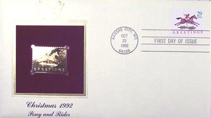 #2711 29¢ Christmas 1992 Traditional - Gold-Foil First Day Cover