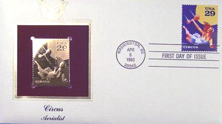 #2752 29¢ Circus: Aerialist - Gold-Foil First Day Cover
