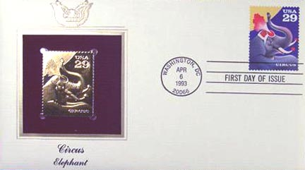 #2753 29¢ Circus: Elephant - Gold-Foil First Day Cover
