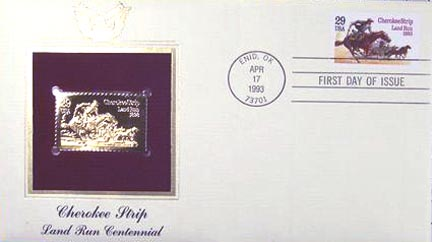 #2754 29¢ Cherokee Strip - Gold-Foil First Day Cover
