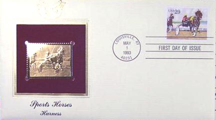 #2758 29¢ Sporting Horses: Harness - Gold-Foil First Day Cover