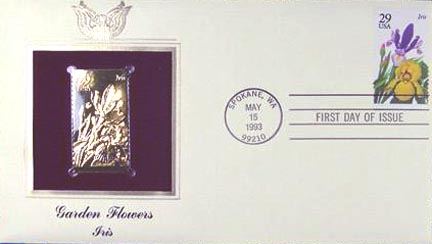 #2763 29¢ Flowers: Iris - Gold-Foil First Day Cover