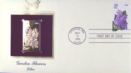 #2764 29¢ Flowers: Lilac - Gold-Foil First Day Cover
