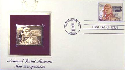 #2781 29¢ National Postal Museum: Charles Lindbergh - Gold-Foil First Day Cover