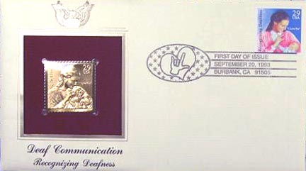 #2783 29¢ Recognizing Deafness - Gold-Foil First Day Cover