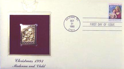 #2789 29¢ Christmas 1993 (Madonna) - Gold-Foil First Day Cover