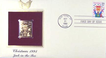 #2791 29¢ Christmas 1993: Jack In The Box - Gold-Foil First Day Cover