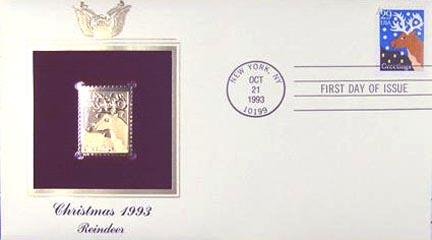 #2792 29¢ Christmas 1993: Reindeer - Gold-Foil First Day Cover