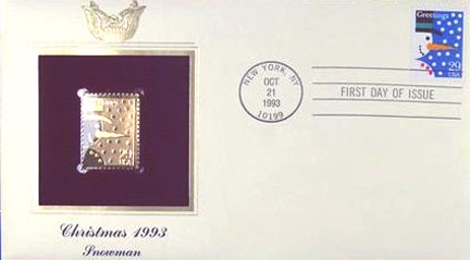 #2793 29¢ Christmas 1993: Snowman - Gold-Foil First Day Cover