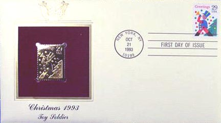 #2794 29¢ Christmas 1993: Toy Soldier - Gold-Foil First Day Cover