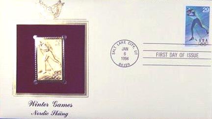 #2810 29¢ Winter Sports: Cross Country Skiing - Gold-Foil First Day Cover