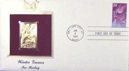 #2811 29¢ Winter Sports: Hockey - Gold-Foil First Day Cover