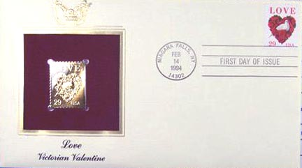 #2814 29¢ Love (Doves and Roses) - Gold-Foil First Day Cover