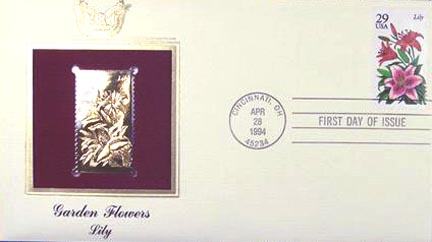 #2829 29¢ Garden Flowers: Lily - Gold-Foil First Day Cover