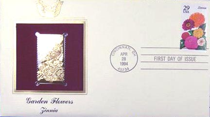 #2830 29¢ Garden Flowers: Zinnia - Gold-Foil First Day Cover