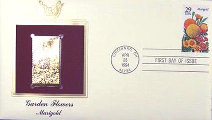 #2832 29¢ Garden Flowers: Marigold - Gold-Foil First Day Cover