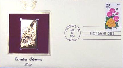 #2833 29¢ Garden Flowers: Rose - Gold-Foil First Day Cover