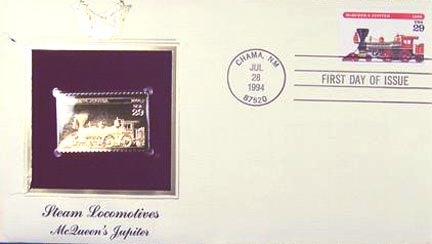 #2844 29¢ Trains: McQueen's Jupiter - Gold-Foil First Day Cover