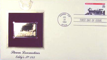 #2845 29¢ Trains: Eddy's No. 242 - Gold-Foil First Day Cover