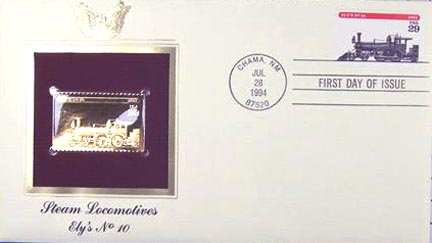#2846 29¢ Trains: Ely's No. 10 - Gold-Foil First Day Cover