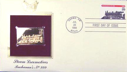 #2847 29¢ Trains: Buchanan's No. 999 - Gold-Foil First Day Cover