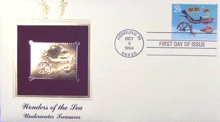 #2865 29¢ Wonders of the Sea: Ships Wheel - Gold-Foil First Day Cover