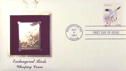 #2868 29¢ Cranes - Gold-Foil First Day Cover