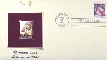 #2871 29¢ Christmas 1994: Traditional - Gold-Foil First Day Cover