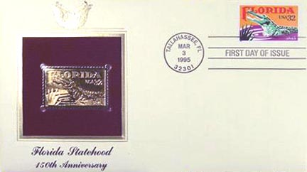 #2950 32¢ Florida Statehood 150th Anniversary - Gold-Foil First Day Cover
