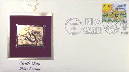 #2952 32¢ Earth Day: Solar Energy - Gold-Foil First Day Cover