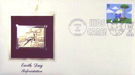 #2953 32¢ Earth Day: Tree Planting - Gold-Foil First Day Cover