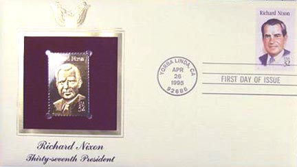 #2955 32¢ Richard M. Nixon - Gold-Foil First Day Cover