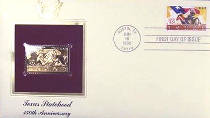 #2968 32¢ Texas Statehood - Gold-Foil First Day Cover